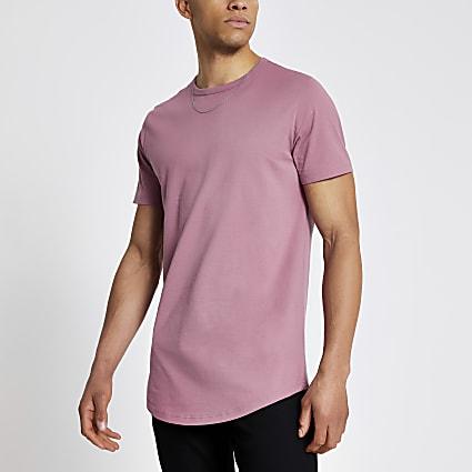 Pink longline slim fit T-shirt