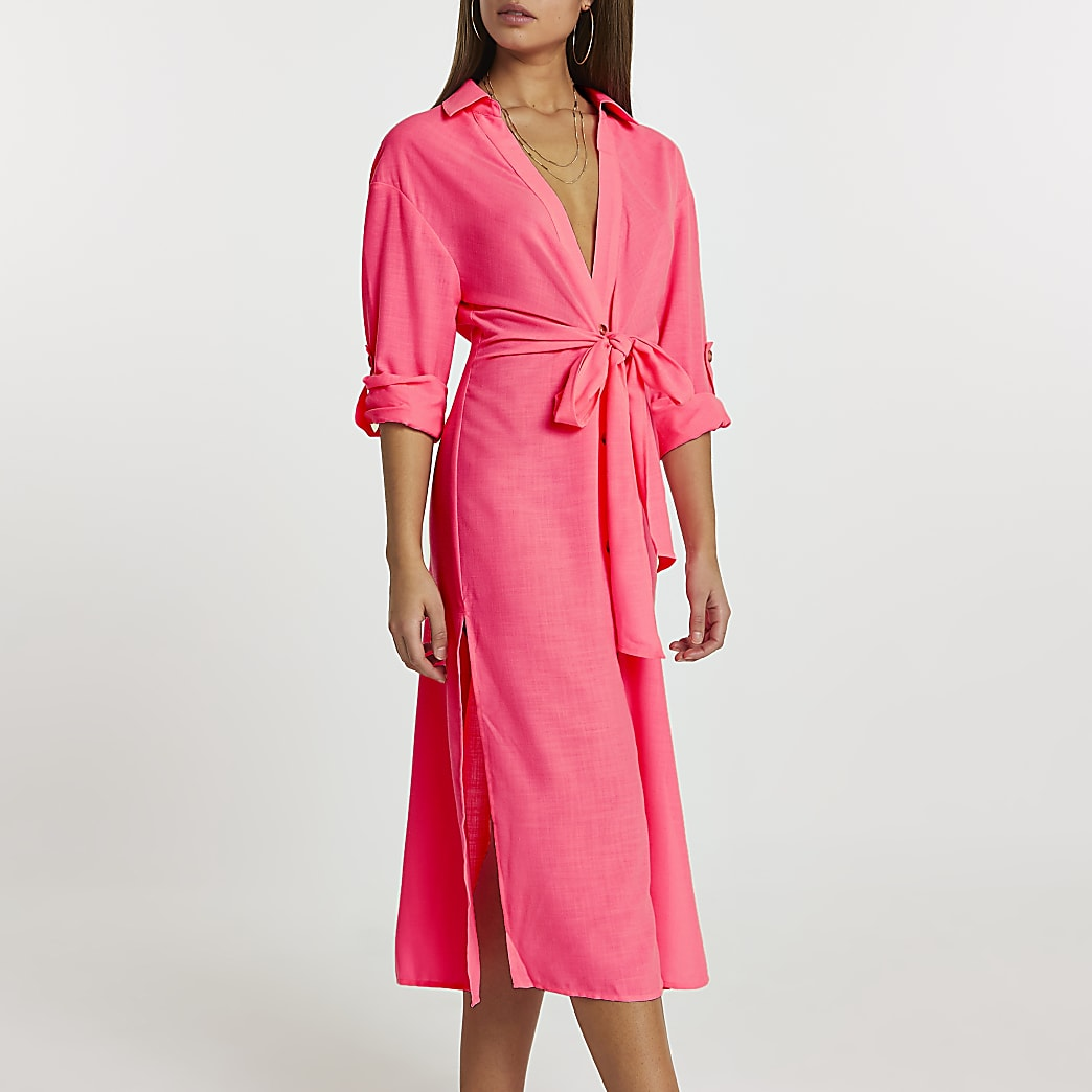 Pink longline tie front shirt dress cover up