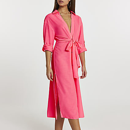 Pink longline tie front shirt dress