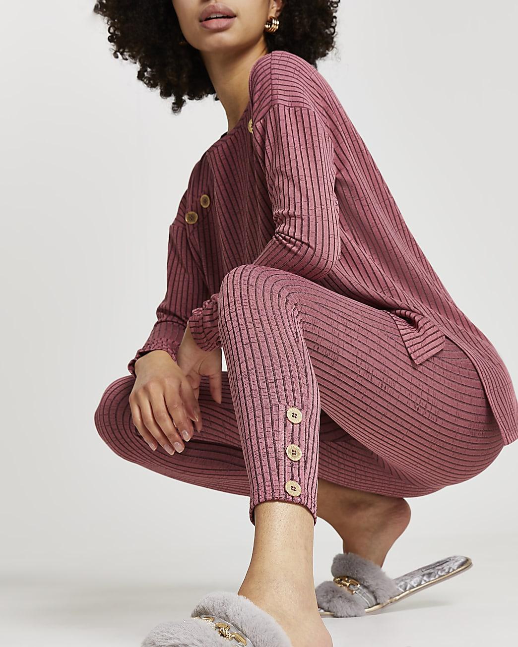 Pink lounge button leggings