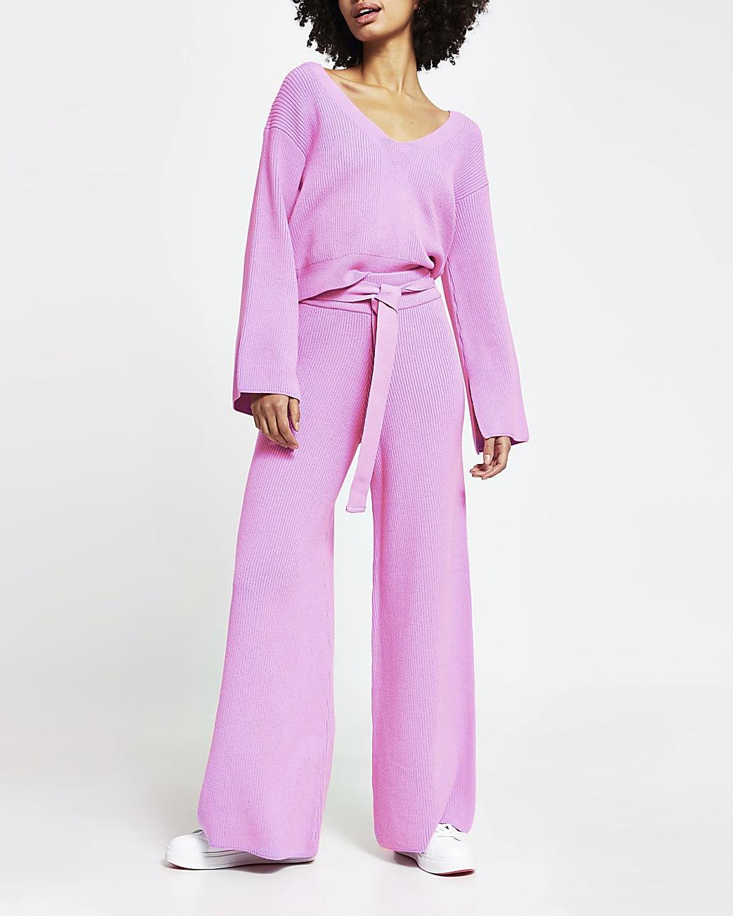 Pink loungewear wide leg knit trousers