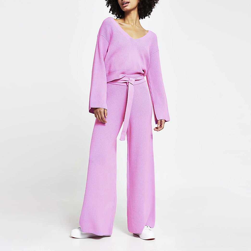 Pink loungewear wide leg knit trousers