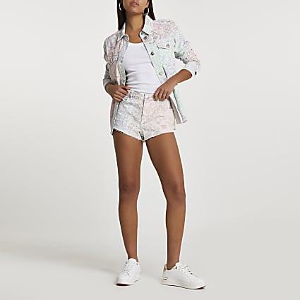 Pink low rise paisley print hotpant shorts