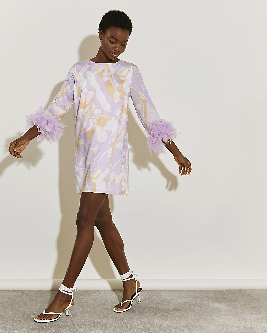 Pink marble print feather cuff shift dress