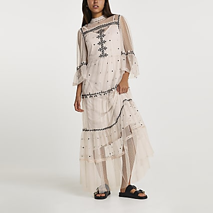 Pink mesh embroidery tiered dress