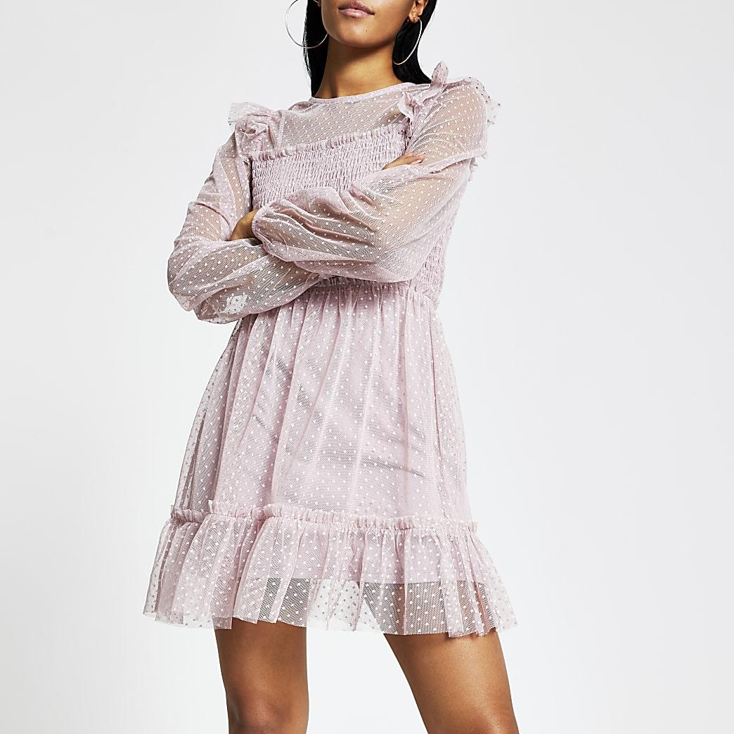 Roze shirred mesh mini-jurk met ruches