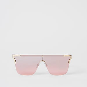 Lunettes de soleil masque sans monture avec coins en métal rose
