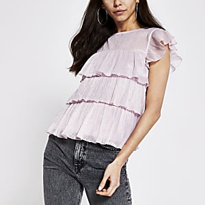 Pink metallic frill short sleeve top