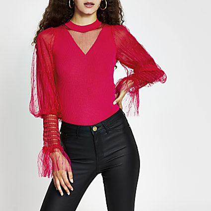 Pink metallic long sleeve ruffle top