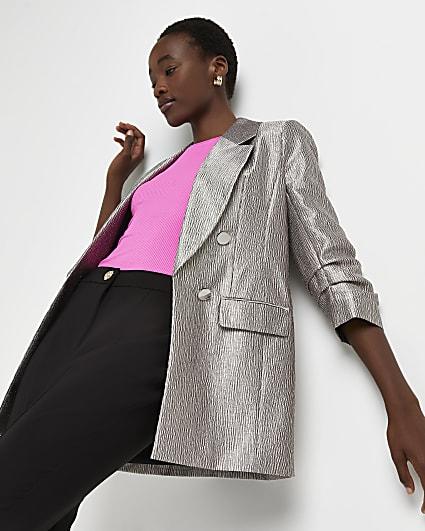 Pink metallic oversized blazer
