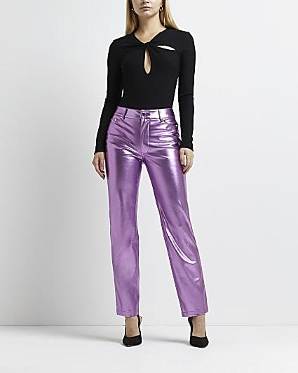 Pink metallic straight leg trousers