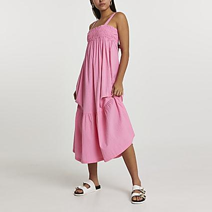 Pink midaxi shirred parachute beach dress