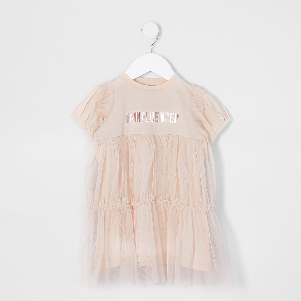 Pink mini girls 'Influencer' print mesh dress