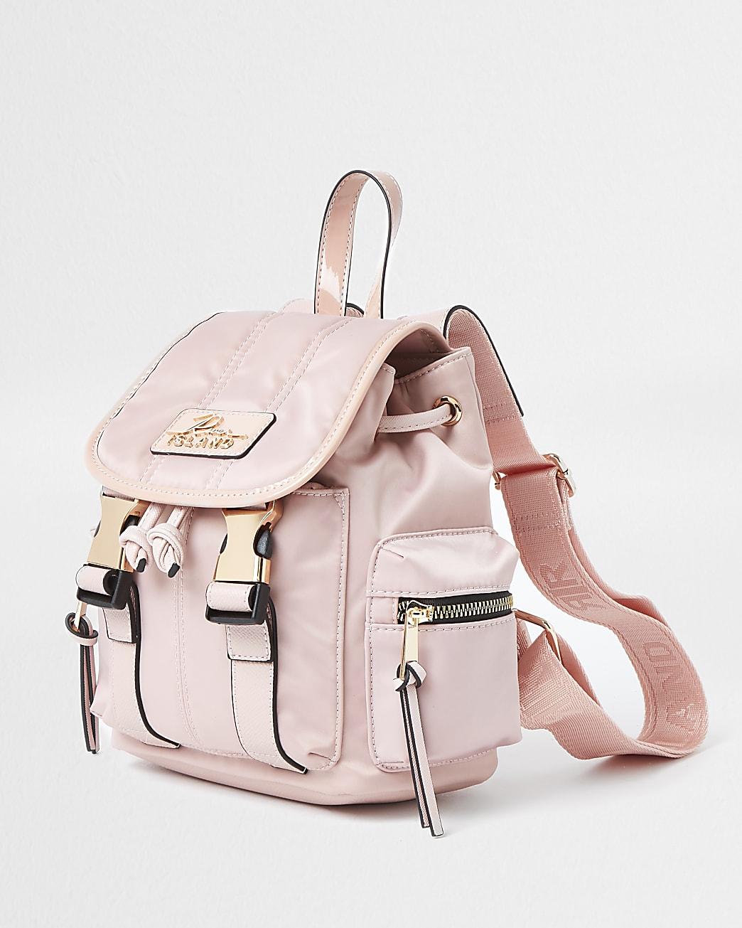 Pink mini RI satin backpack