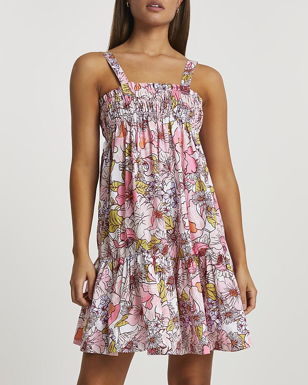 Pink mini shirred parachute beach dress