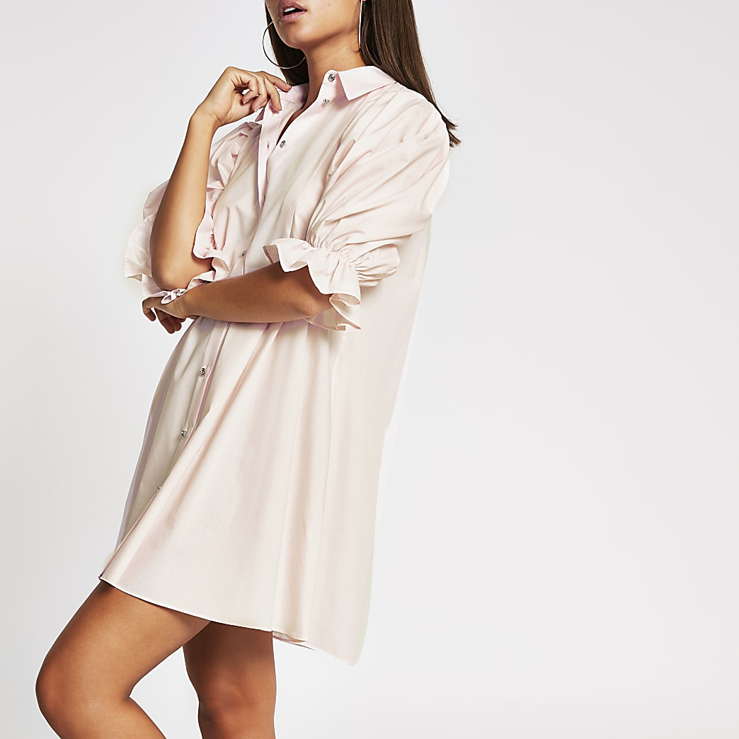 Pink mini shirt dress