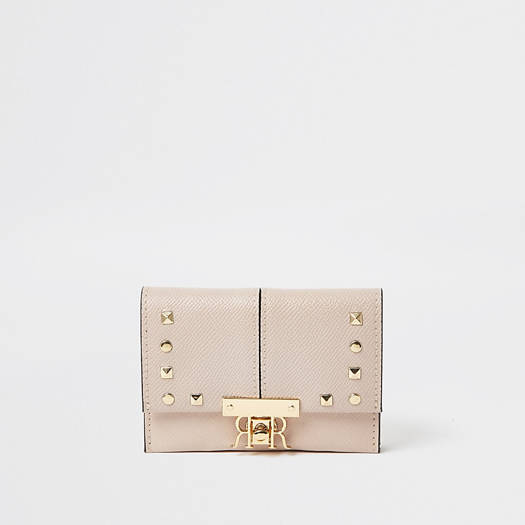 Pink mini stud foldover purse