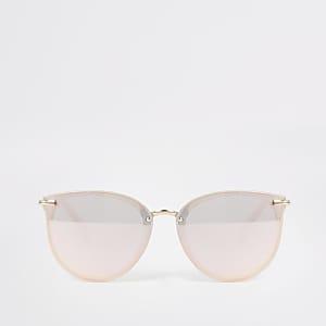 Retro-Sonnenbrille in Rosa mit verspiegelten Gläsern