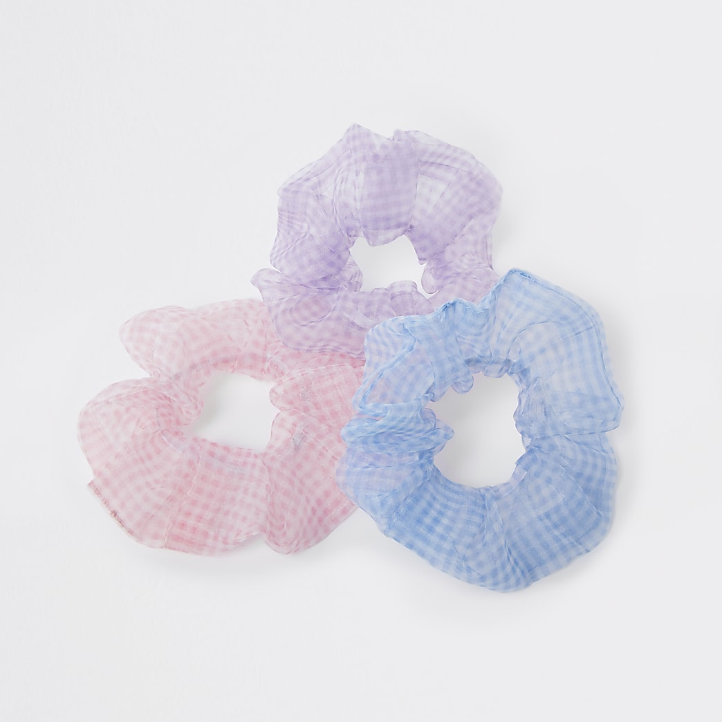 Pink mixed gingham scrunchie 3 pack