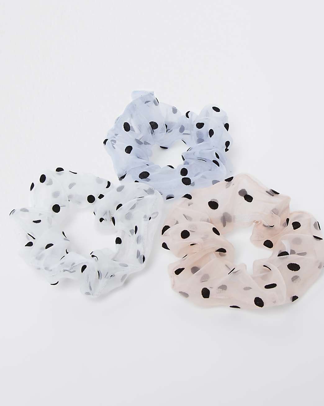 Pink mixed polka dot scrunchie 3 pack