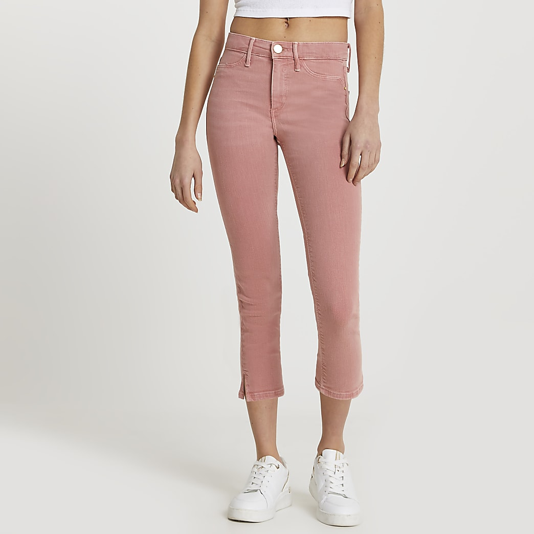Pink Molly cropped mid rise jean