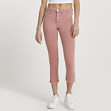 Pink Molly cropped mid rise jeans