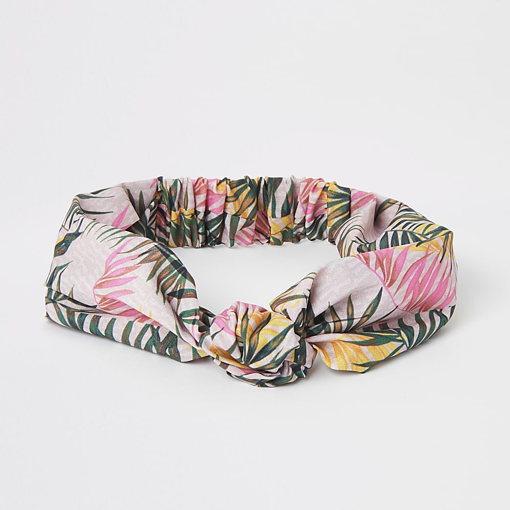 Pink monogram palm print knot headband
