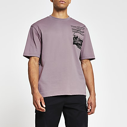 Pink mountain print t-shirt