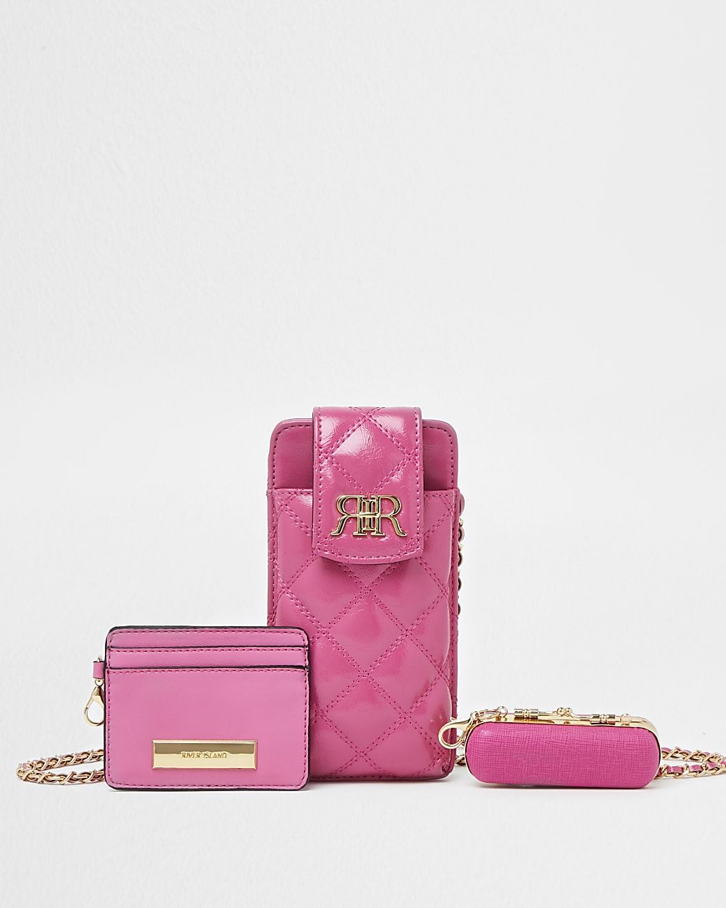Pink multi set pouch bags