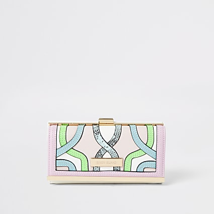 Pink multicoloured swirl cliptop purse