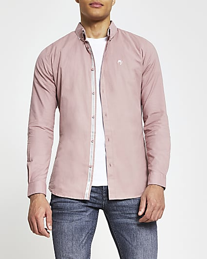 Pink muscle fit long sleeve oxford shirt