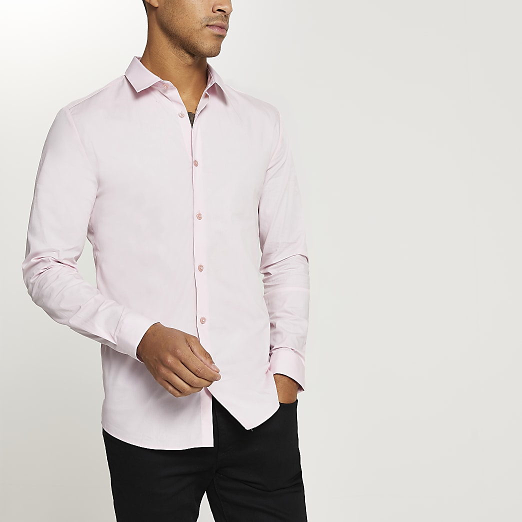 Pink muscle fit long sleeve shirt