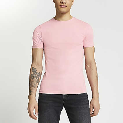 Pink muscle fit short sleeve t-shirt