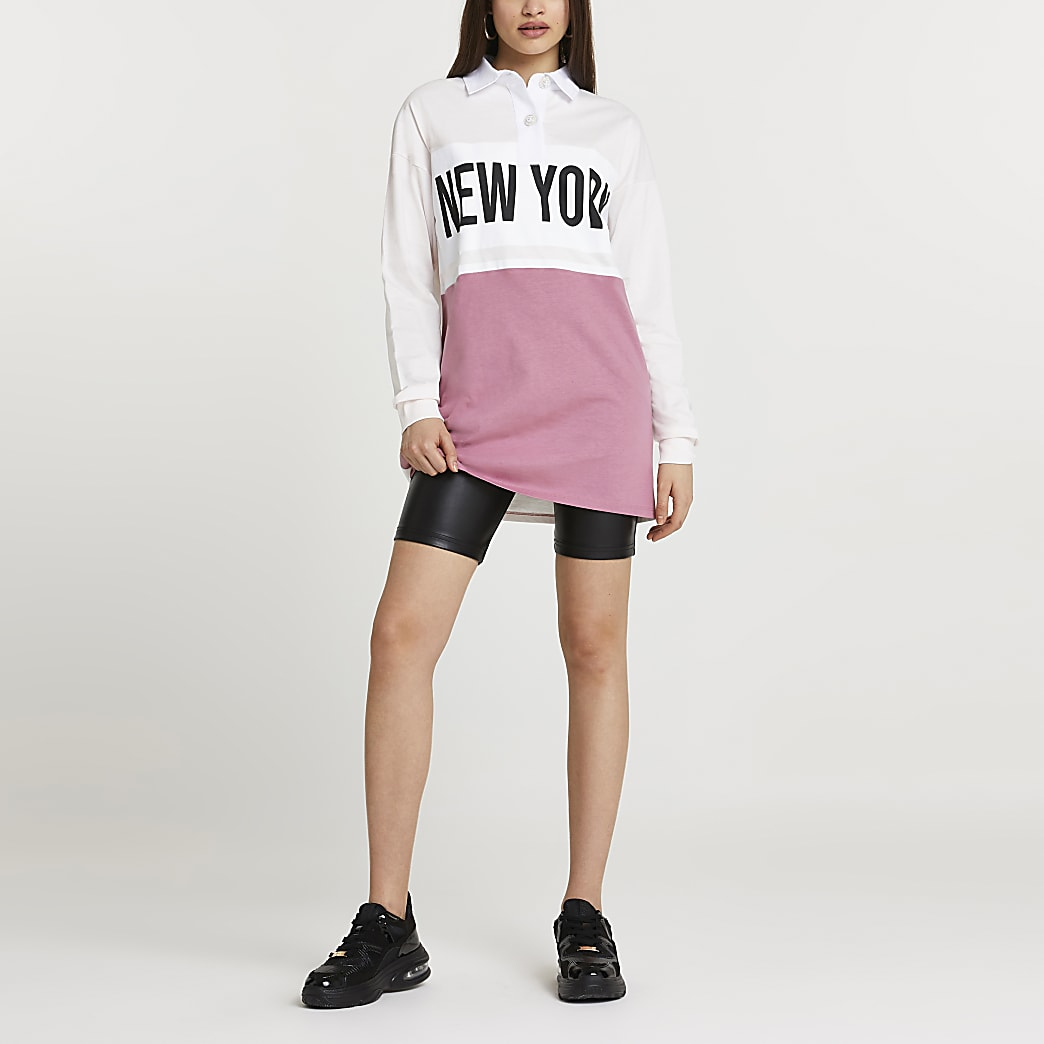 Pink 'New York' longline sweatshirt