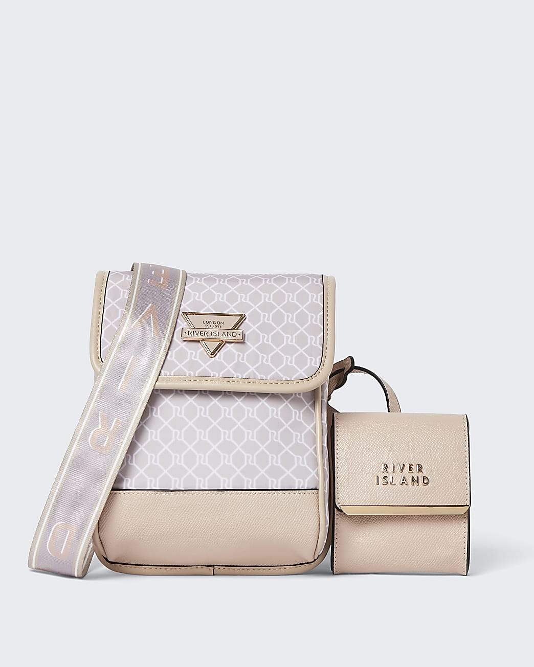 Pink nylon detachable pouch bag