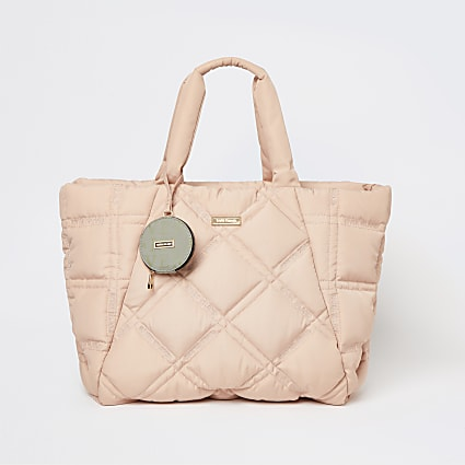 Pink nylon quilted puffer shopper bag