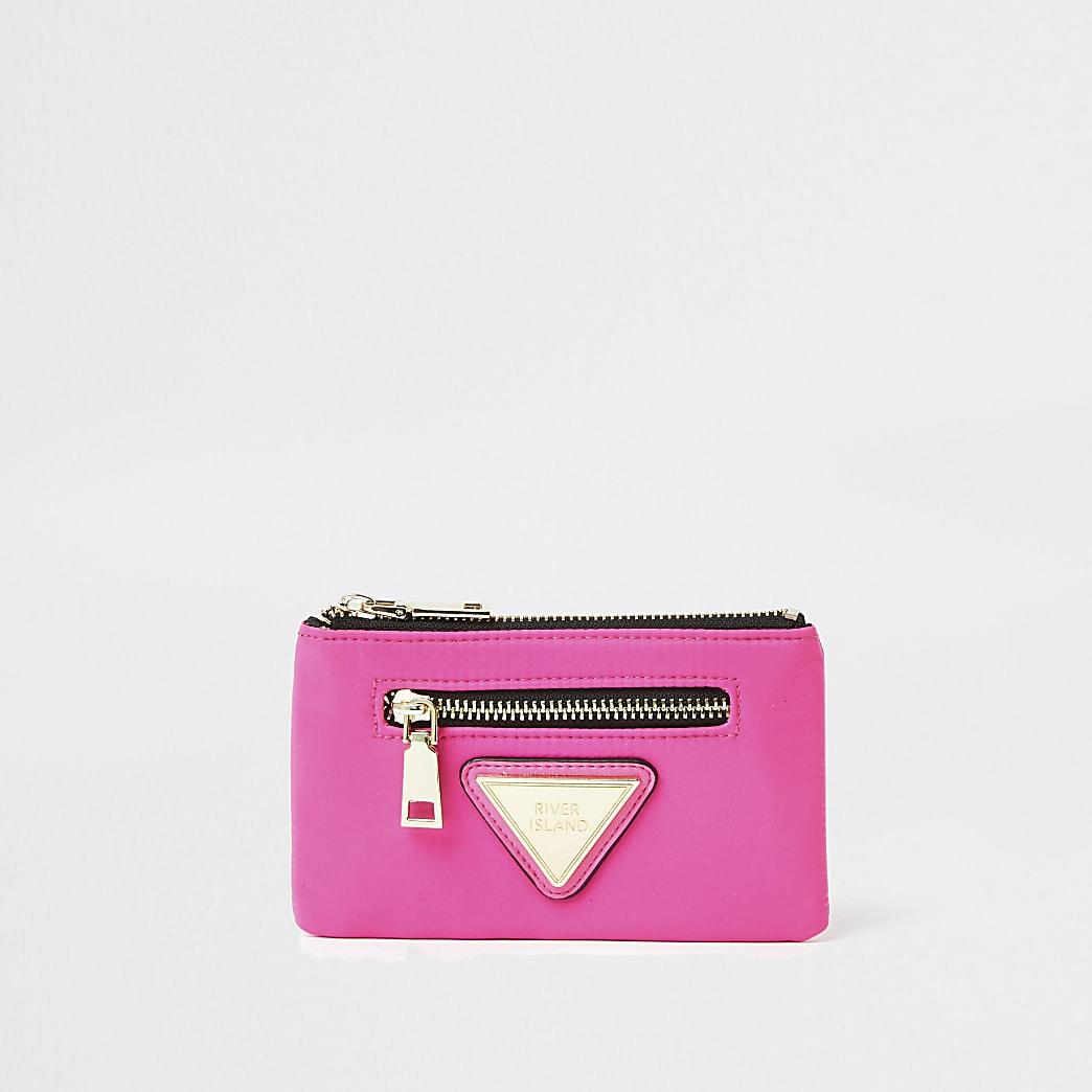 Pink nylon zip pouch purse