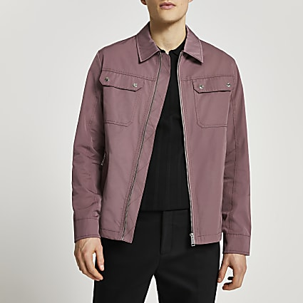Pink nylon zip up shacket