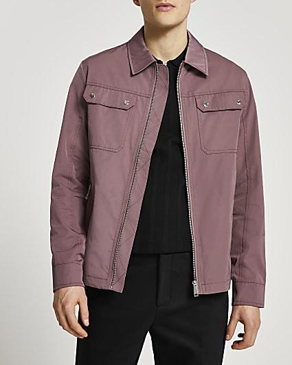 Pink nylon zip up shacket