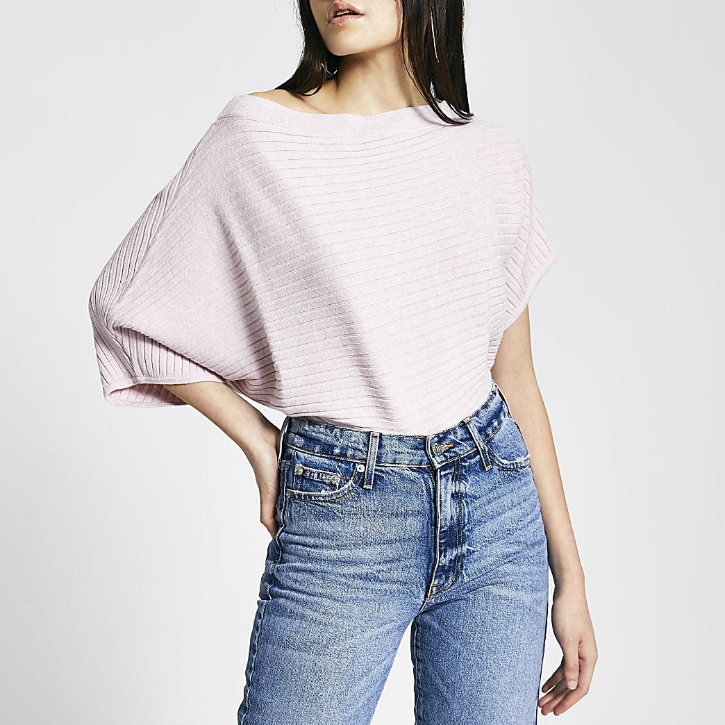 Pink off the shoulder rib knitted jumper