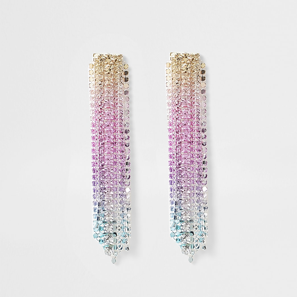 Pink ombre chainmail dangle earring