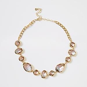 Halskette mit ombrierten Schmucksteinen in Rosa