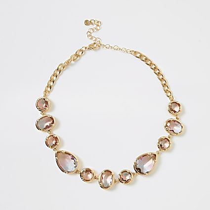 Pink ombre jewel embellished necklace