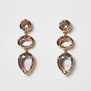Pink ombre jewel triple drop earrings