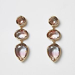 Pendants d'oreilles avec trois pierres fantaisie en dégradé rose