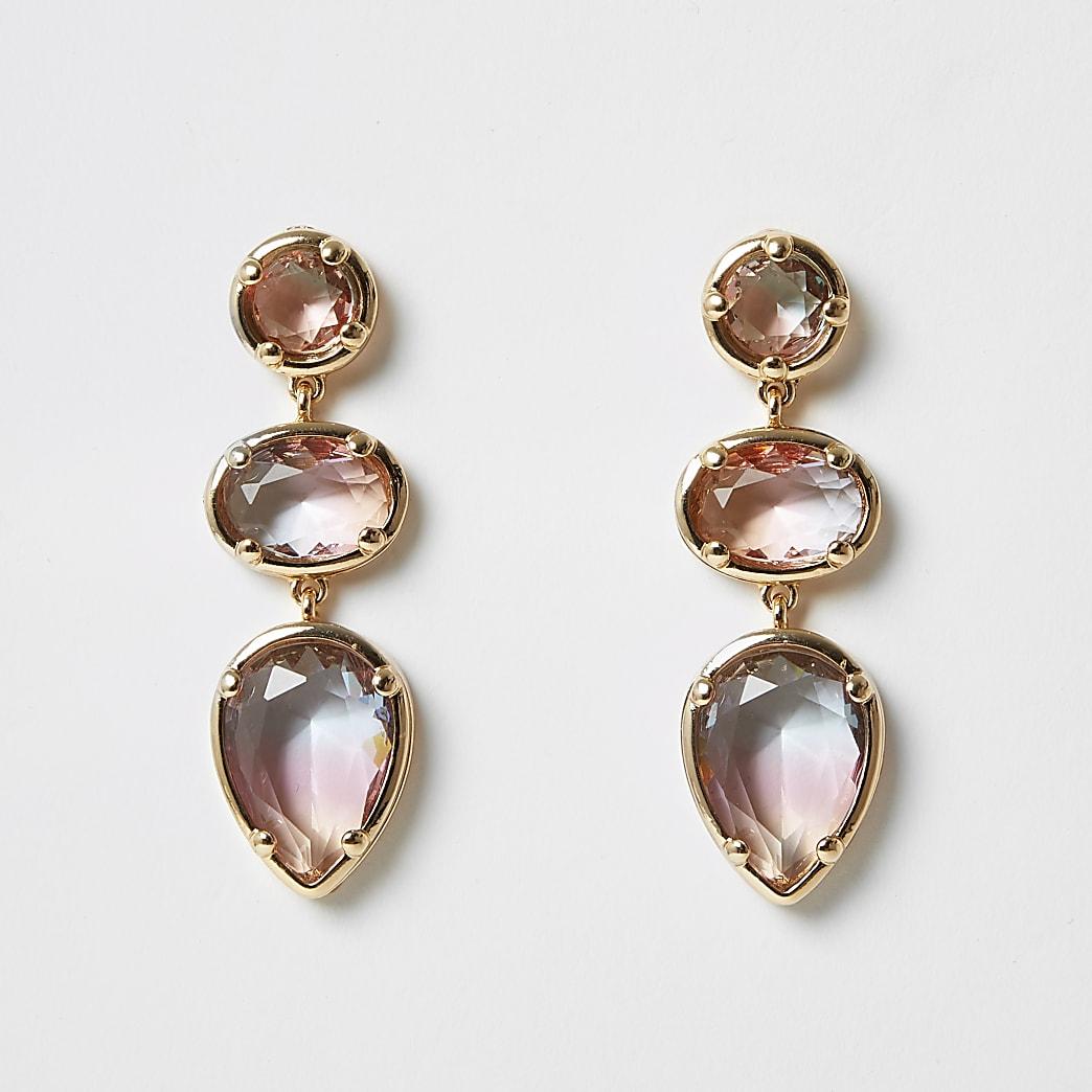 Pink ombre jewel triple drop earrings