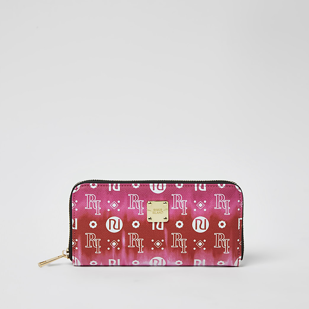 Pink ombre monogram zip around purse