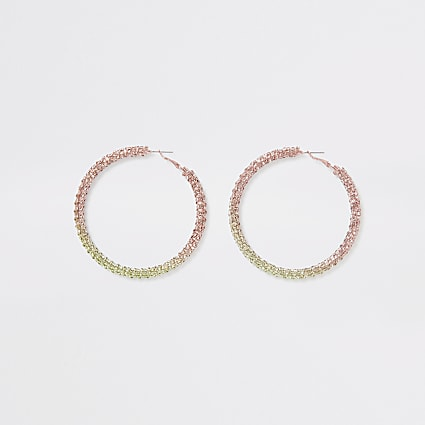 Pink ombre pastel hoop earrings