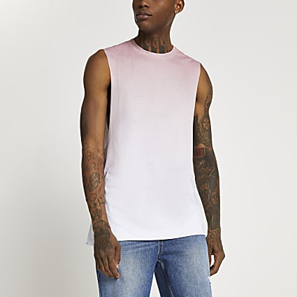 Pink ombre print slim fit vest