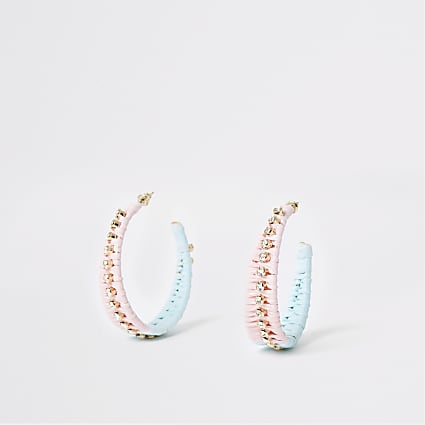 Pink ombre raffia chain hoop earrings